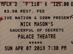 Nick Mason's Saucerful Of Secrets - Columbus, April 7th 2019 - ticket