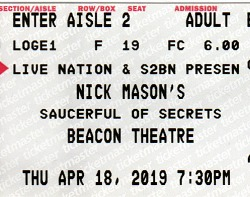 Nick Mason's Saucerful Of Secrets (with Roger Waters) - Beacon Theatre, New York, April 2019