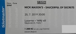 Nick Mason's Saucerful Of Secrets ticket - Lucerna, Prague, 25th July 2019