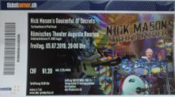 Nick Mason's Saucerful Of Secrets - Augst, Switzerland, July 2019 - ticket