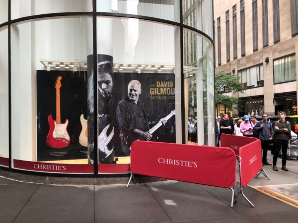 Outside Christie's New York for the David Gilmour Guitar Collection auction