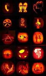 Pink Floyd pumpkin designs over the years for Brain Damage, by artist Joe Ringus