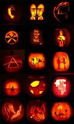 Pink Floyd pumpkin designs over the years for Brain Damage, by artist Joe Ringus