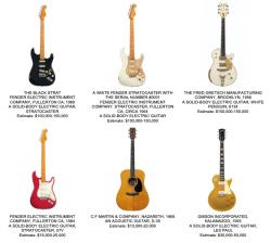 Selection of David Gilmour's guitars in upcoming Christie's auction
