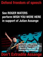 Roger Waters performing WYWH in support of Julian Assange, London, September 2019