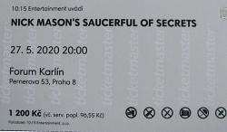 Nick Mason's Saucerful of Secrets - Prague, Czech Republic, 2020 concert ticket