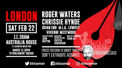 March for Assange with Roger Waters, 22 February 2020