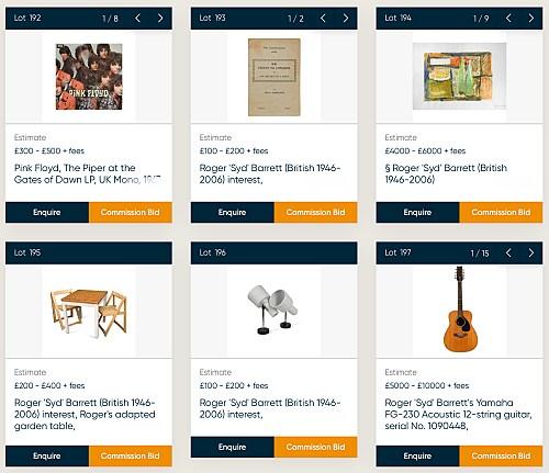 Syd Barrett auction lots