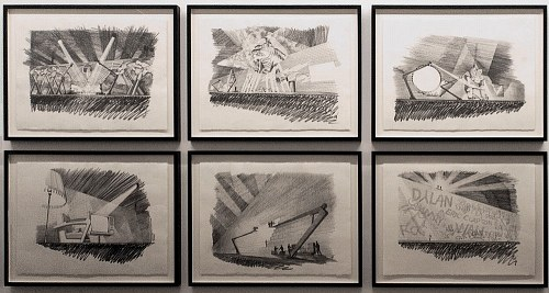 Mark Fisher drawings for Roger Waters The Wall Live In Berlin 1990