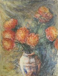 Roger Barrett - Orange Dahlias In A Vase, 1961