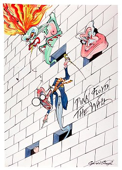 Gerald Scarfe - Pink Floyd The Wall painting in auction, March 2021