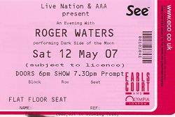 earls court ticket - roger waters