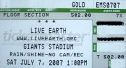 live earth ticket