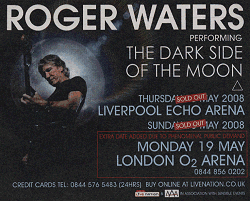 Roger Waters UK concerts 2008 poster