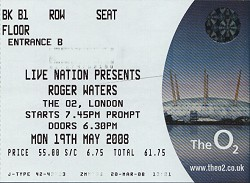 Roger Waters London o2 ticket