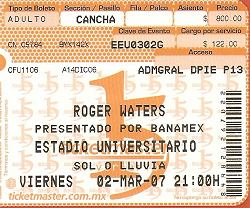 Roger Waters Monterrey ticket