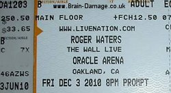 Roger Waters 2010 concert ticket
