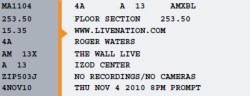 Roger Waters - Izod ticket 2010