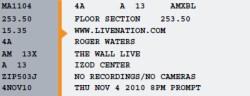 Roger Waters - Izod ticket 2010