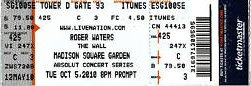 Roger Waters ticket MSG 2010