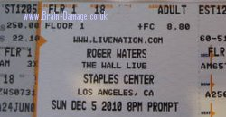 Roger Waters 2010 The Wall Live concert ticket