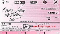 Roger Waters 2011 Zurich concert ticket