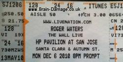 Roger Waters San Jose 2010 concert ticket