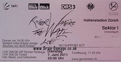 Roger Waters - Zurich, 7th June 2011 ticket