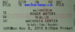 Roger Waters 2010 Wall Tour ticket