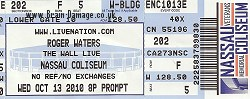 Roger Waters Nassau Coliseum 2010 ticket