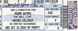 Roger Waters Nassau Coliseum 2010 ticket
