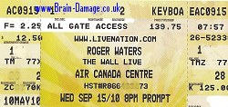 Roger Waters Toronto 2010 ticket