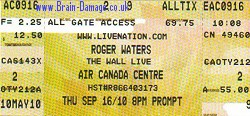 Roger Waters - Toronto ticket 16 Sept 2010