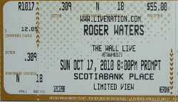 Roger Waters ticket - Ottawa, October 17th 2010