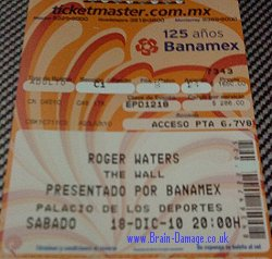 Roger Waters 2010 Mexico concert ticket