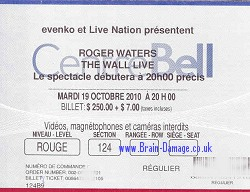 Roger Waters - Montreal 2010 ticket