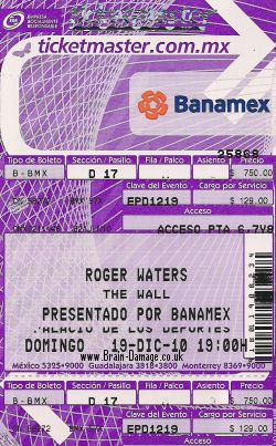 Roger Waters concert ticket 19 December 2010 Mexico