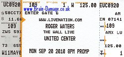 Roger Waters 2010 tour ticket