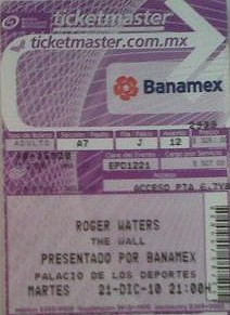 Roger Waters ticket - Mexico City December 21st 2010