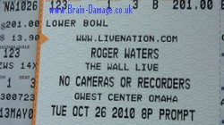 Roger Waters 2010 Wall concert ticket