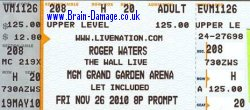 Roger Waters 2010 Las Vegas ticket