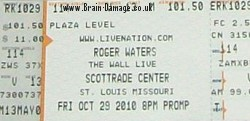 Roger Waters - St Louis ticket, 29th October 2010