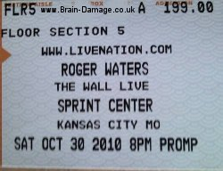 Roger Waters 2010 concert ticket
