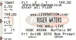 Roger Waters - Buffalo 2010 ticket