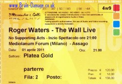 Roger Waters ticket - Milan 2011