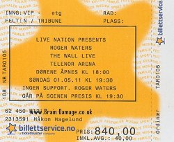 Roger Waters ticket - Oslo, 2011