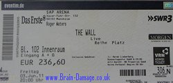Roger Waters 2011 Wall tour ticket