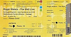 Roger Waters - Milan 2011 ticket