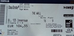 Roger Waters - The Wall Live 2011 ticket