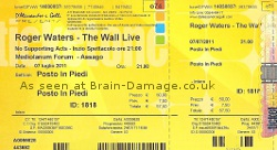 Roger Waters Milan 2011 concert ticket